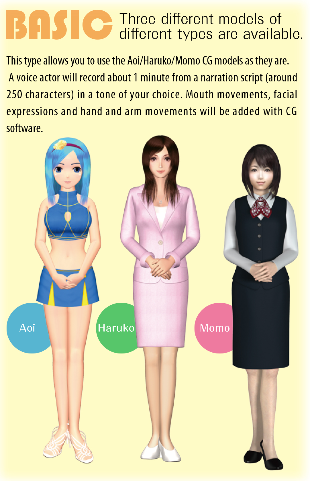 BASIC Three different models of different types are available. This type allows you to use the Aoi/Haruko/Momo CG models as they are. A voice actor will record about 1 minute from a narration script (around 250 characters) in a tone of your choice. Mouth movements, facial expressions and hand and arm movements will be added with CG software.